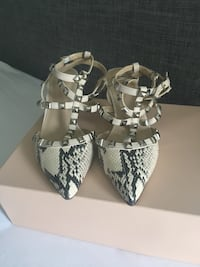 BCBG snake-skin leather pointed-toe heel sandals