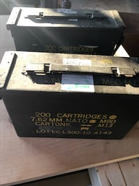 Two metal ammo boxes. 7.62mm Gainesville, 20155