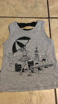 Gray and black tank top for girls size 6