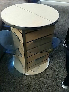 round beige and brown wooden table