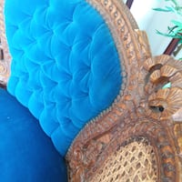 Unique, antique blue velvet chair South Riding