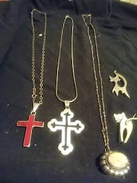 3 silver necklaces 30.00 each and2 cat silver pins Portland, 78374