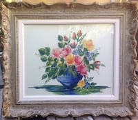 Brown wooden framed painting of flowers Laval, H7R 2B2