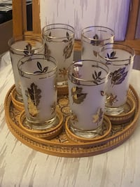 VINTAGE GOLD LEAF DESIGN GLASSWARE ON A WICKER TRAY  North Dumfries, N0B