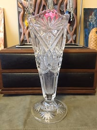 8 inch tall victorian vase pressed glass...3 piece