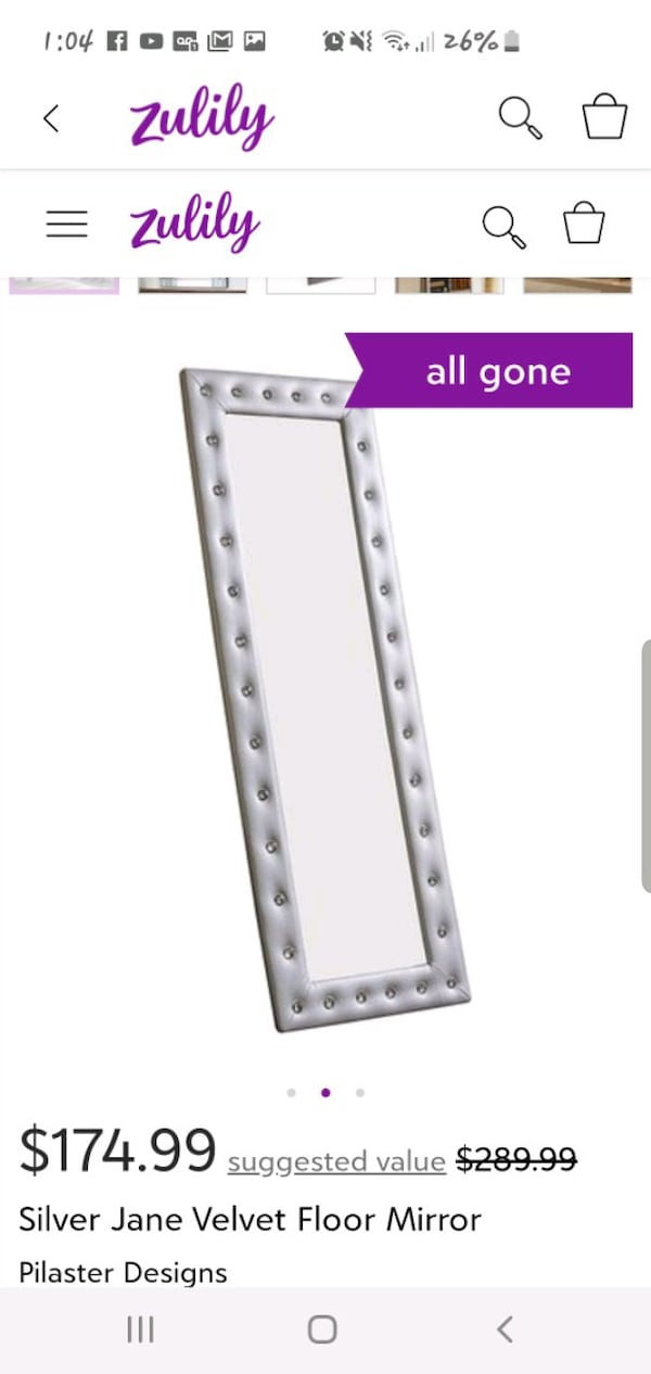 ** BRAND NEW IN BOX , NEVER OPENED **  SILVER FLOOR LENGTH MIRROR  a2d6a66e-630f-41a5-a79a-e507cf8aa156