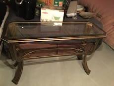 brown steel glass top center table
