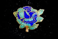 So Stylish &  Stunning Green & Blue Enamel Rose Pin Bethesda, MD, USA