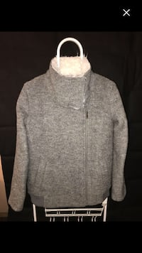 gray zip-up turtle neck sweater