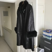Women's Leather Coat with Fur Collar and Fur Cuffs Bristow, 20136