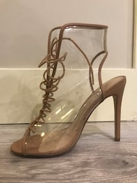 ShoeDazzle clear nude tie up heels - s8.5 Langley, V2Y 2Z9