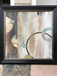 Brown wooden framed painting of white and blue flower