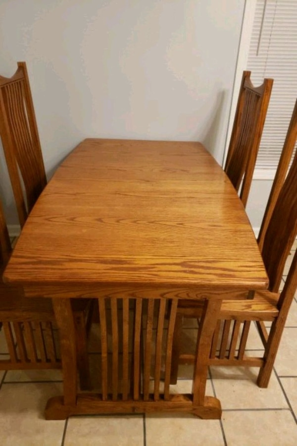 Handmade solid wood dining room table with chairs