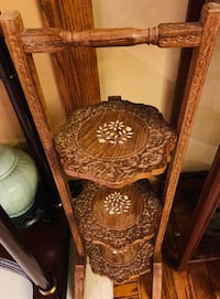 Vintage Indian hand carved wood folding 3 tier pie stand Toronto, M1M 3G7