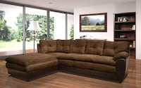 Pewter Espresso Sectional Sofa with Chaise  ** $40 Down To Finance ** Charlotte, 28216