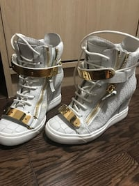 white-and-gold crocodile-skin leather high-top sneakers