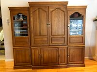 3 piece oak solid cabinet w crown molding. Serious buyers. pickup