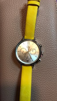 round silver chronograph watch with yellow strap Alexandria, 22303