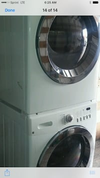 white-and-gray washer and dryer set