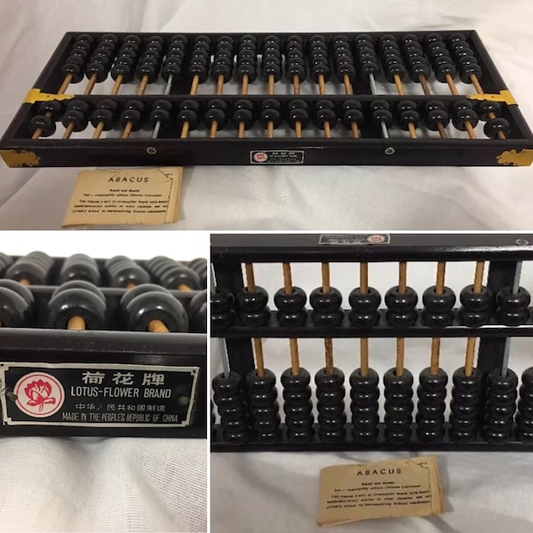 Used Vintage Lotus Flower Brand Wooden Abacus Made In The Peoples