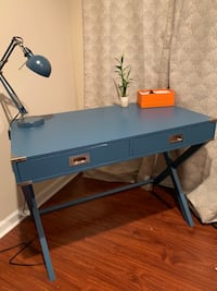 blue and black wooden desk Alexandria