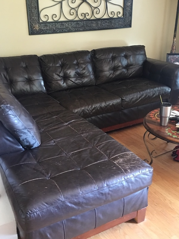 brown leather sectional sofa with ottoman