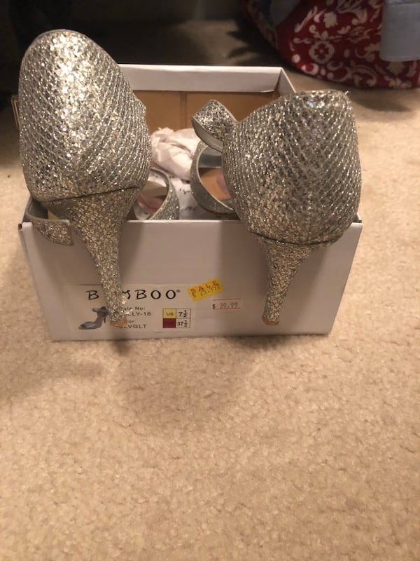 Silver Party shoes worn once 93315eb0-8cbf-4fac-a06a-029e64f5bc08