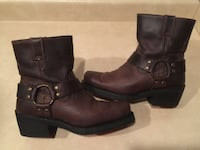 Women's Size 6 Harley Davidson Brown Leather Zip-Up High Ankle Riding Biker Boots London