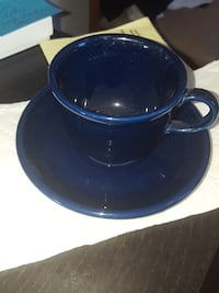 5 Fiesta Ware cups & saucers navy blue NEVER USED Alexandria, 22304