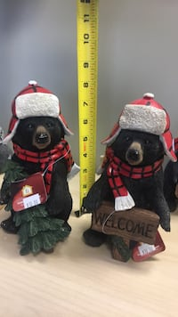 Black and red lpolyresin bears with either tree or welcome sign.