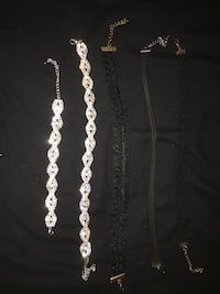 Three black choker and a silver rhinestone choker with matching bracelet * SEE DESCRIPTION FOR MORE DETAILS* Las Vegas, 89145