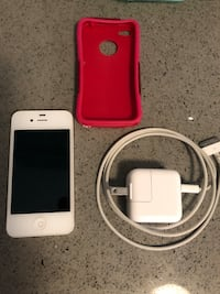 White iphone 4 with red case Newmarket, L3X 2A9