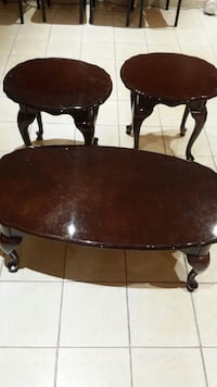round brown wooden coffee table