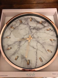 Rose gold marble clock 12""