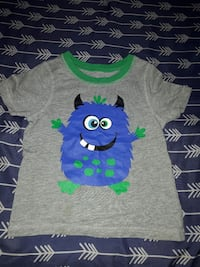 toddler's green, blue, and gray crew-neck t-shirt
