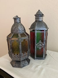 Middle eastern glass & metal lamps 15 in and 17 in