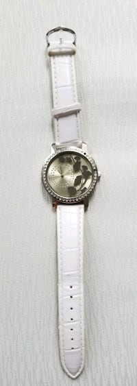 round silver analog watch with white leather strap Oshawa, L1H 8L7