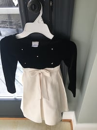 Girls size black and cream with pearls dress  20 km