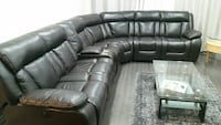 black leather recliner sectional sofa