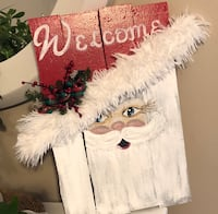 """Christmas holiday Santa Welcome sign. 16X16"""". Hand painted on repurposed wood. Evansville, 47712"""