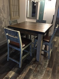 Shabby/Rustic Chic Counter Height Dining Table And Chairs