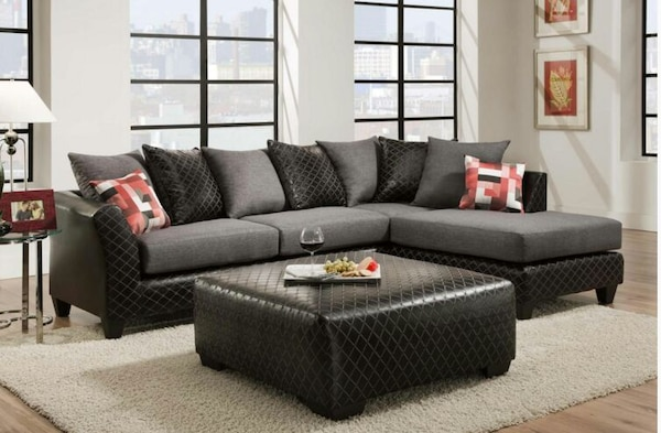 Used Delta City Lights Leather Aires Sectional Sofa for sale in ...