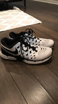 White-and-black nike air max shoes