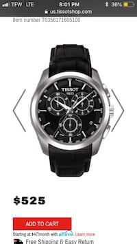 Round silver analog watch with black leather strap Atlanta, 30312