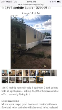16x80 mobile home for sale 1996 3 bdrm 2 bath Albuquerque, 87114