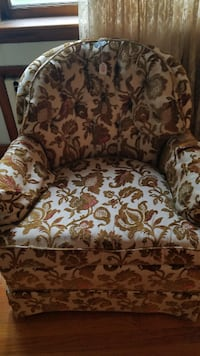 brown and white floral sofa chair PISCATAWAY