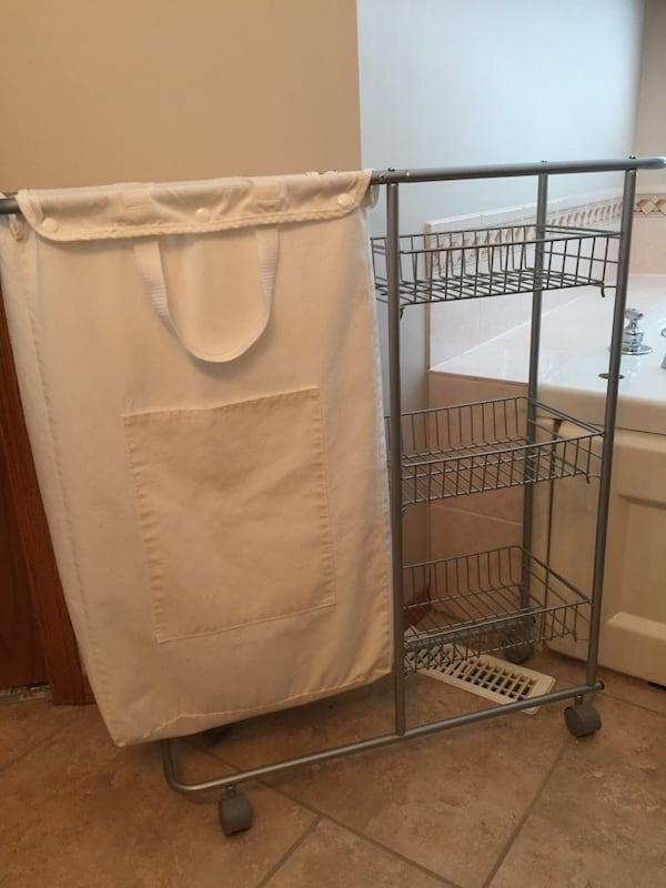 **MOVING SALE** Bathroom Hamper and Trolley 6f57a8a3-0526-4ad0-8f28-fd74213211ad