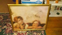 brown wooden framed painting of two cherubs Independence, 64052