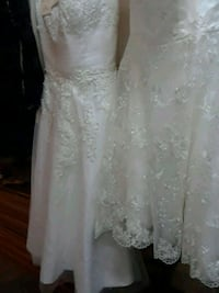 white floral lace sleeveless wedding dress Commerce, 90040
