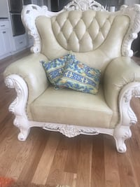 9 seater White and off white leather fabric sofa chair 917 mi